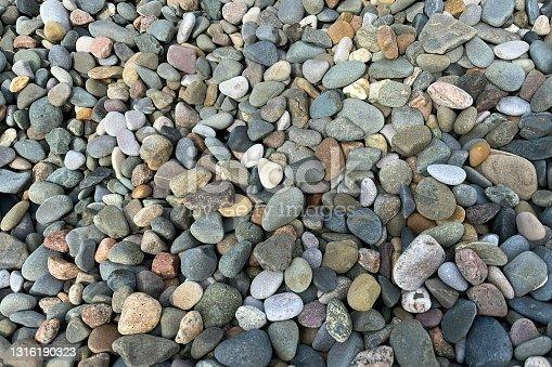 Assortment of seashore pebbles