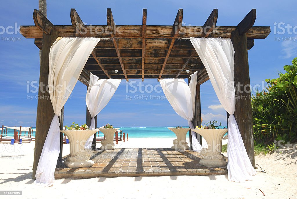 Beach pergola stock photo