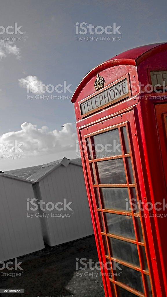 Beach phonebox stock photo