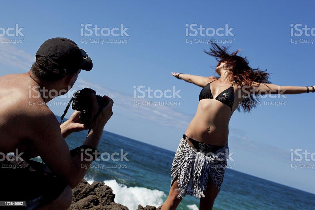 Beach photoshoot royalty-free stock photo