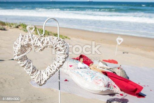 istock Beach picnic heart 518854300