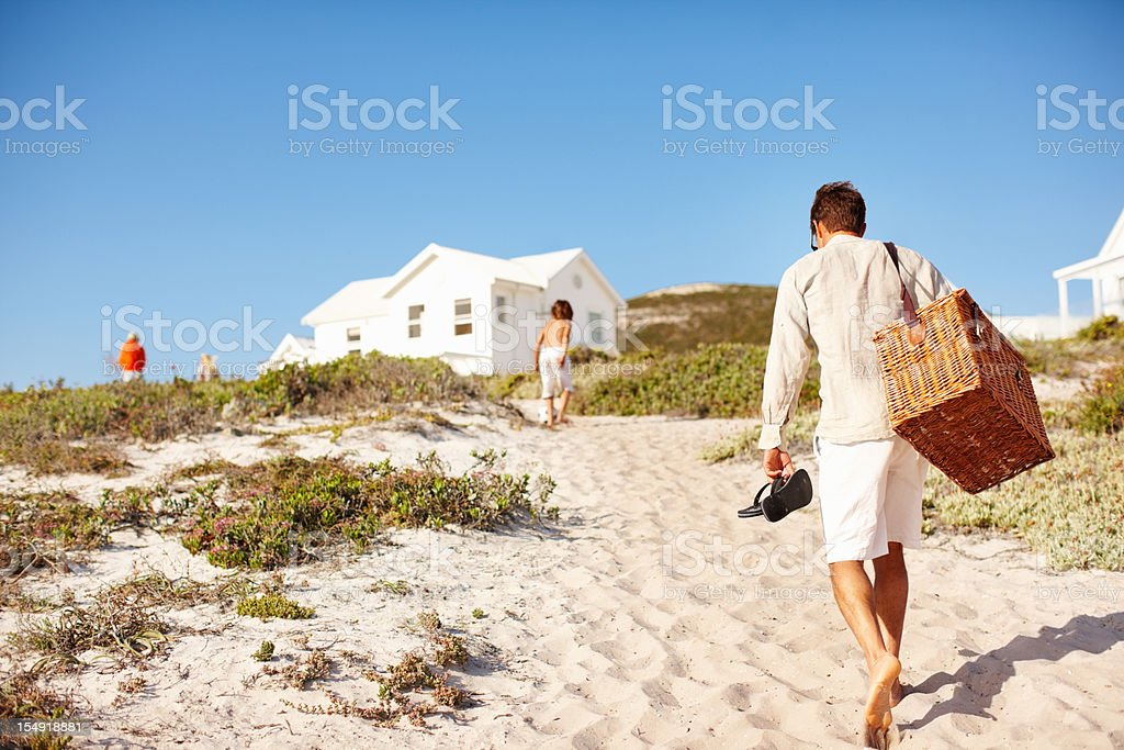 Beach picnic stock photo