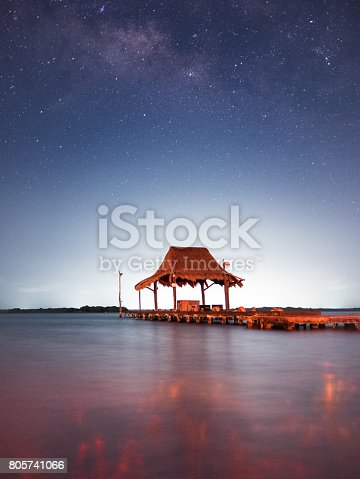 A pier in the waters in a clear night under a sky full of stars and milky way