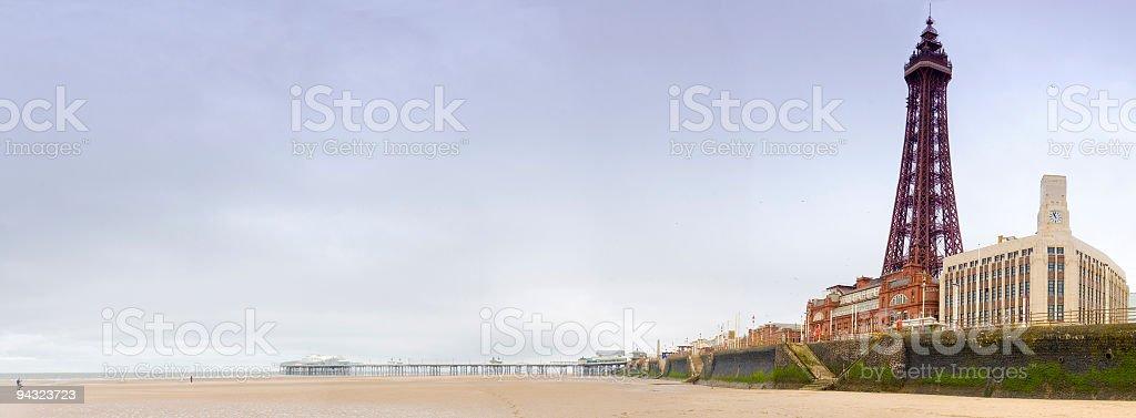 Beach, pier, tower stock photo