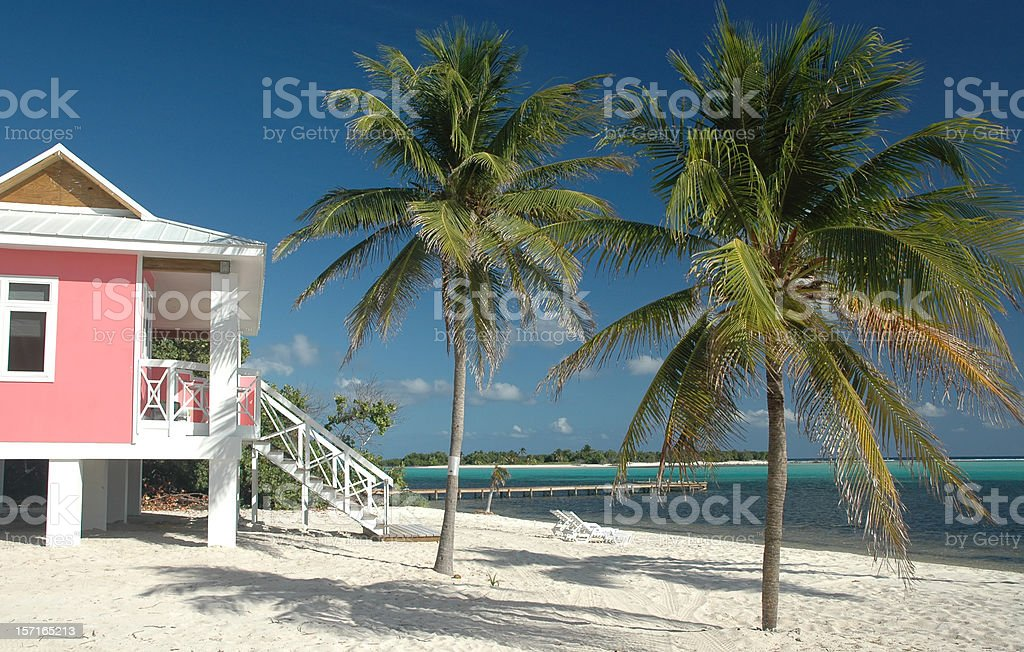 Beach - Pink Villa on the sand royalty-free stock photo