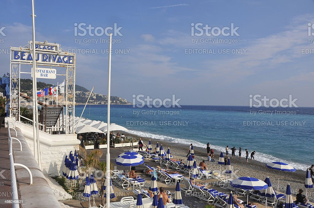 Beach 'Plage Beau Rivage', Nice stock photo