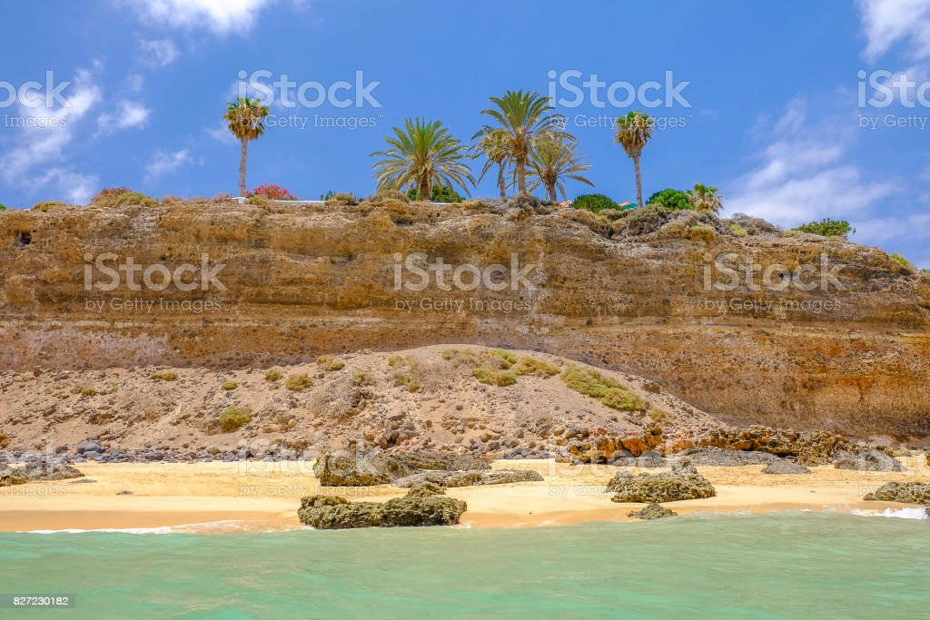 Beach Playa de Morro Jable, Fuerteventura, Spain. stock photo
