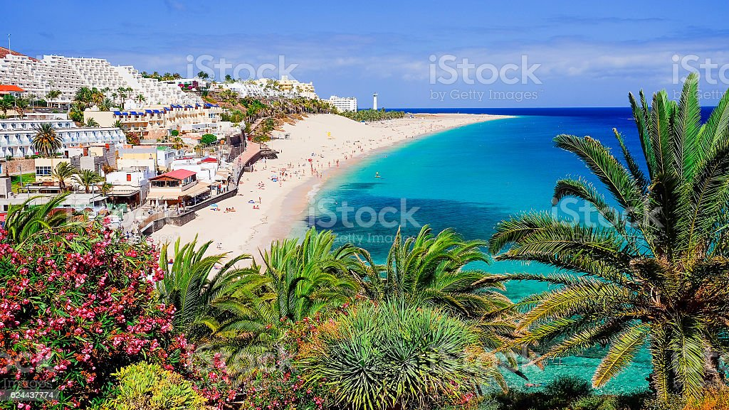 Beach Playa de Morro Jable on Fuerteventura, Spain. stock photo