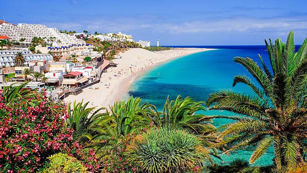 beach playa de morro jable on fuerteventura, spain. - cuba stock photos and pictures