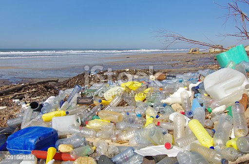 Garbages, plastic, and wastes on the beach after winter storms. Atlantic west coast of france.