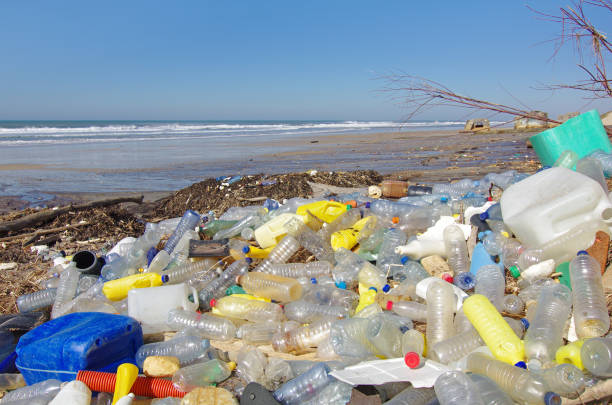 beach pollution - plastic stock pictures, royalty-free photos & images