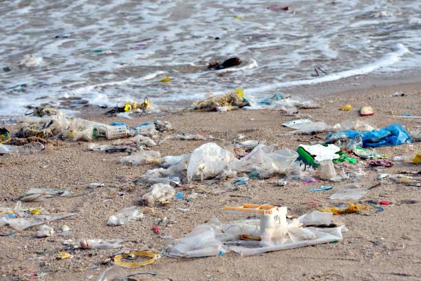 plage de la pollution. bouteilles en plastique et autres déchets sur la mer sur la plage - sac en plastique photos et images de collection