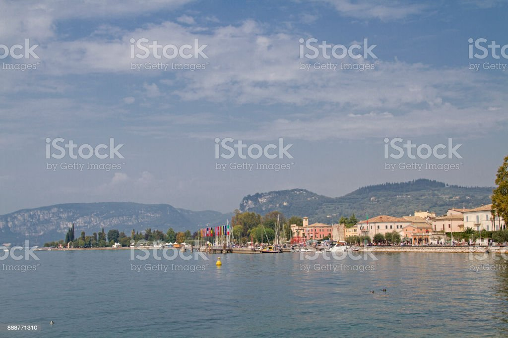 Beach promenade in Bardolino on Lake Garda stock photo