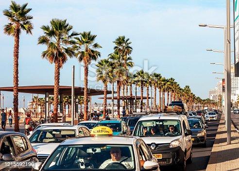 Tel Aviv, Israel - Heavy traffic on famous beach promenade