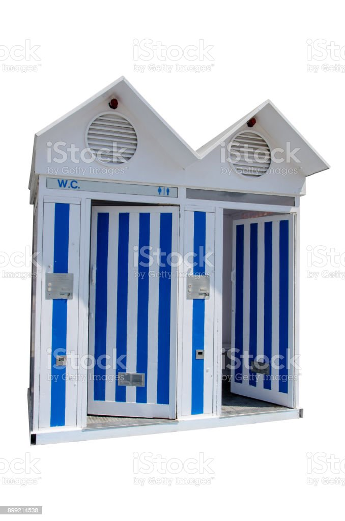 beach public restroom in blue and white isolated over white stock photo