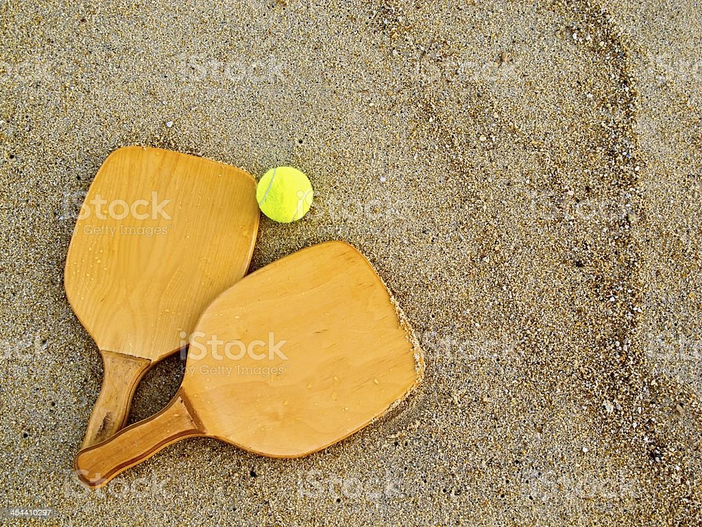 Beach racquets and ball royalty-free stock photo