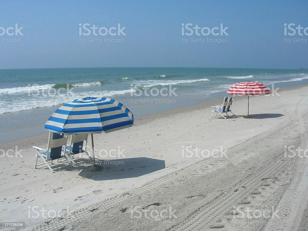 Beach Resort with Umbrellas and Chairs royalty-free stock photo