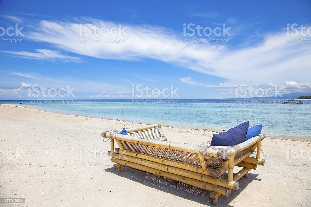 Beach rest pavilion in Gili island stock photo