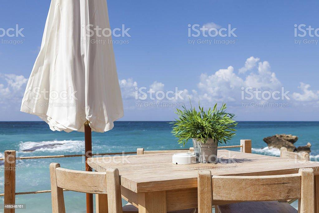 Beach restaurant in Lebanon stock photo