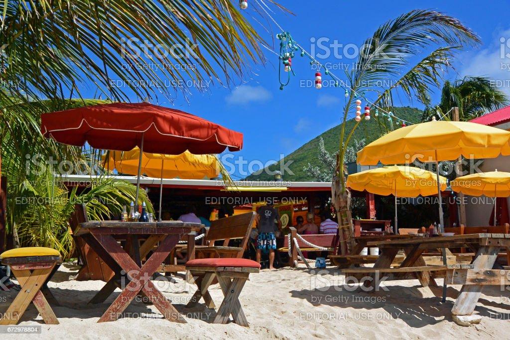 Beach restaurant on Grand Case, St Martin on French side. stock photo
