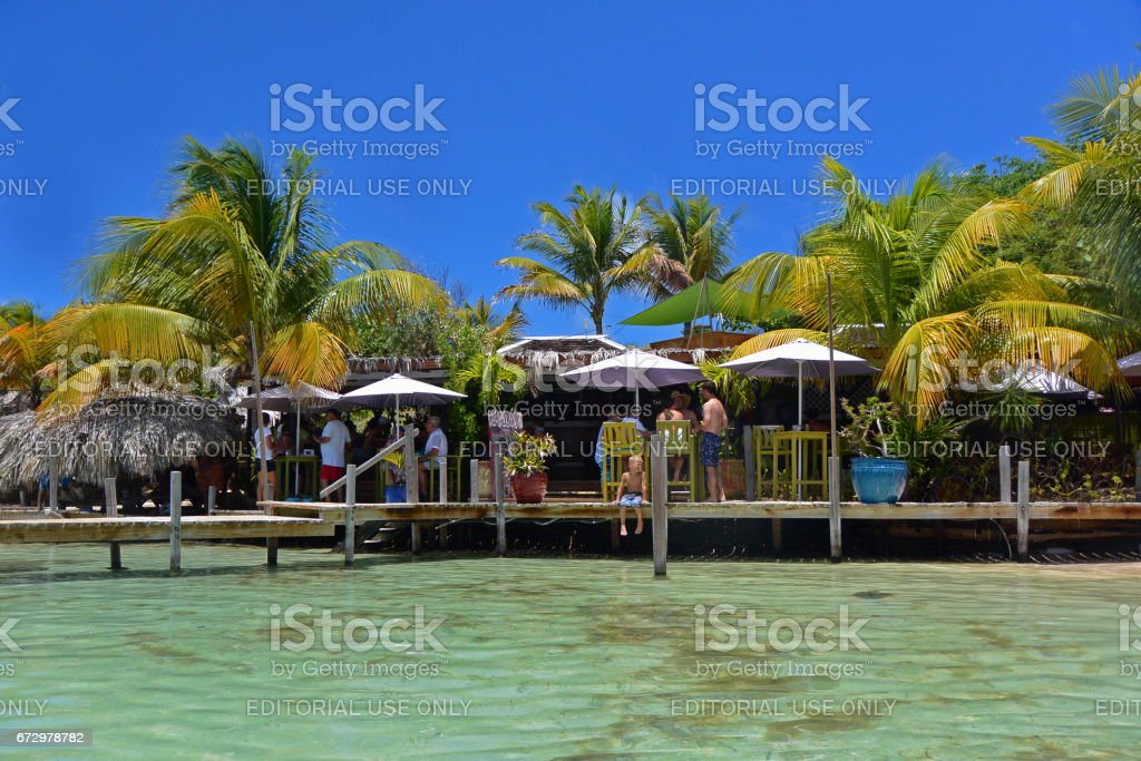 Beach restaurant on Pinel Island, St Martin stock photo