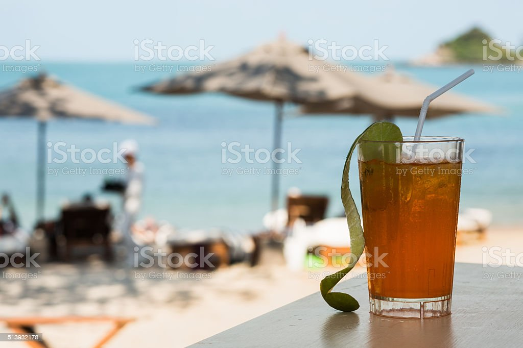 Beach restaursnt srving with glasses and plates stock photo