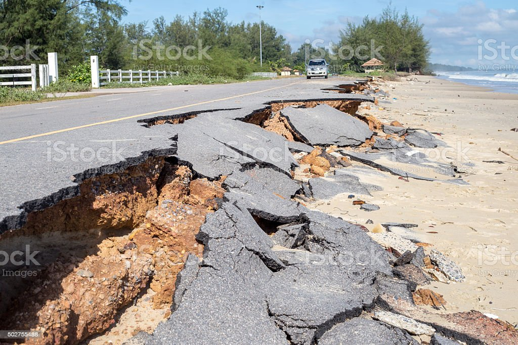 Beach Road slide along the beach  to water erosion royalty-free stock photo