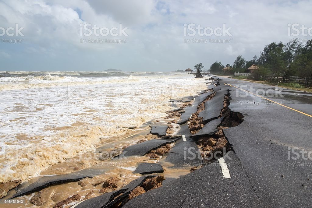 Beach Road slide by water and wind royalty-free stock photo
