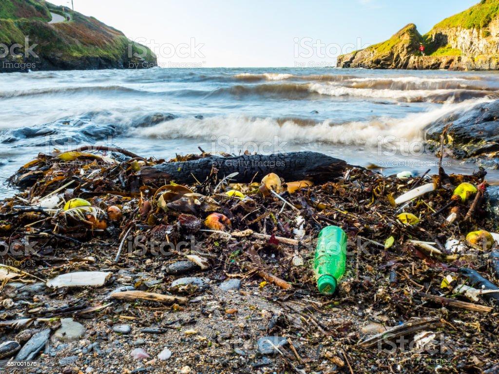 Playa desperdicios y basura lavados para arriba en orilla - foto de stock