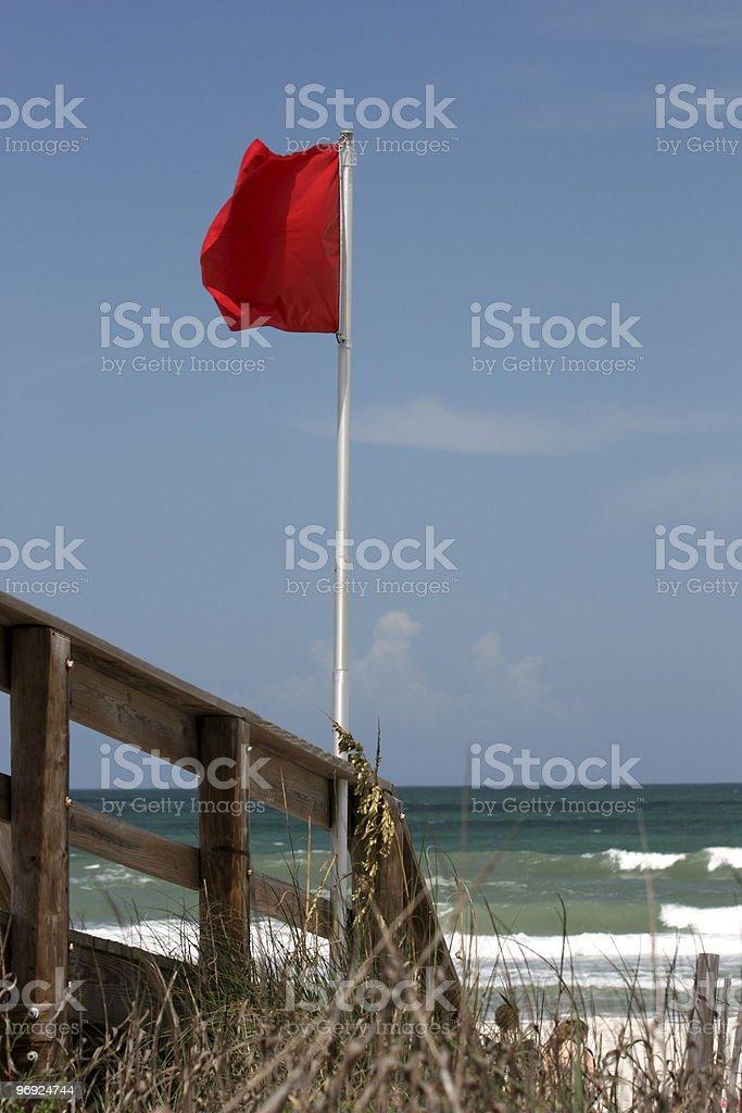 Beach, Ruff Surf Warning Flag royalty-free stock photo