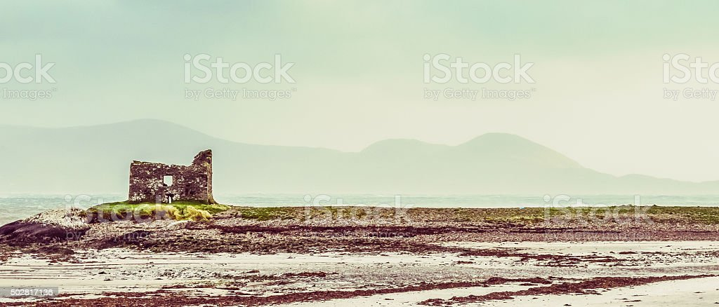 Beach Ruin Ballinskelligs stock photo