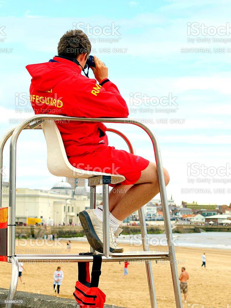Beach safety, Bridlington, UK. stock photo