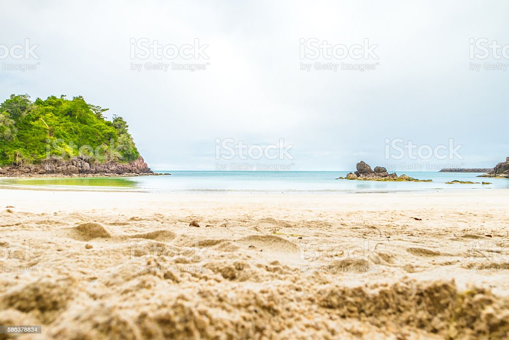 Beach sand and sea with rock,Landscape view of sea – Foto