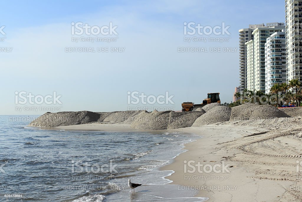 Beach Sand Nourishment Landscaping Coast stock photo