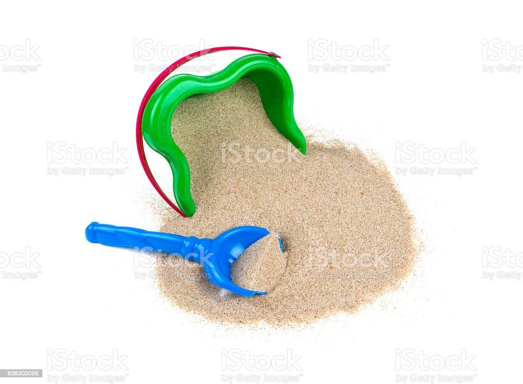 beach sand, shovel and bucket stock photo