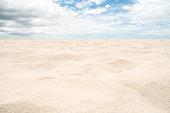 Beach sand texture with clear sky background