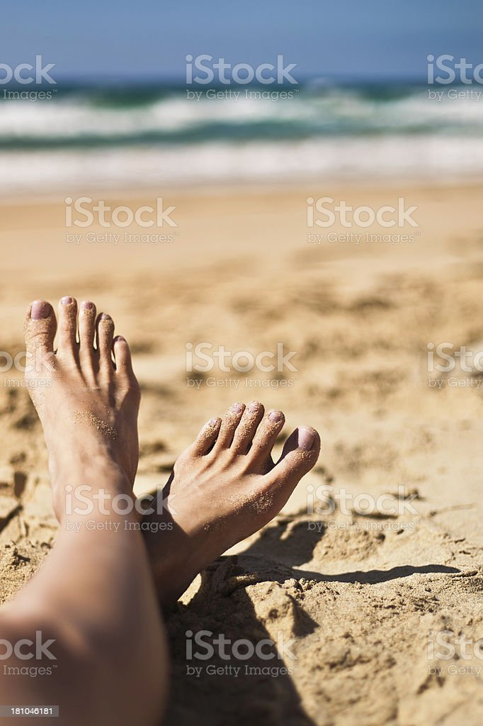 Beach Sandy Feet royalty-free stock photo