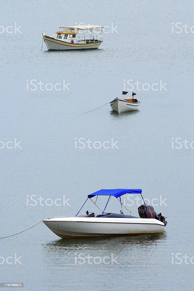 Beach scene and boats royalty-free stock photo