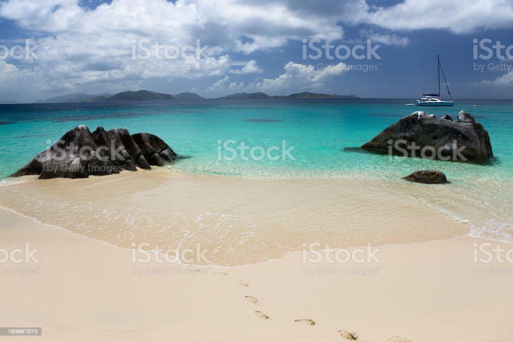 beach scene at The Baths in Virgin Gorda, BVI stock photo