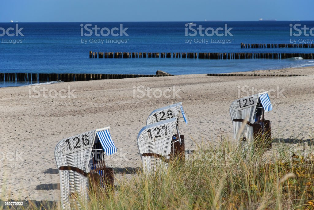 Beach scene in Kuehlungsborn, Germany royalty-free stock photo