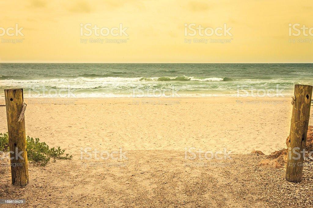 Beach Scene in Vintage Colors stock photo