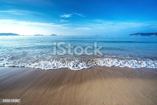 istock Beach scene showing sand, sea and sky 535516382