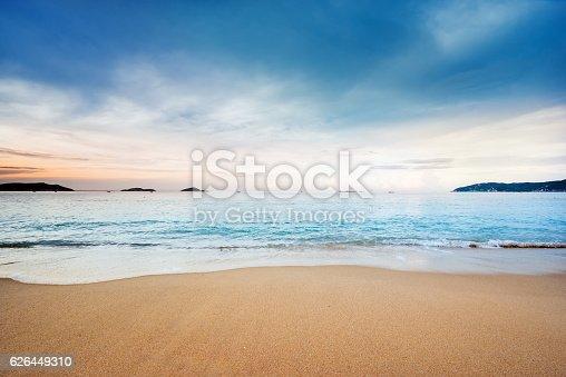 istock Beach scene showing sand, sea and sky 626449310