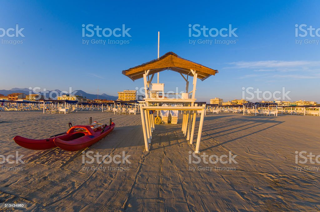 Beach scene Viareggio Tuscany stock photo