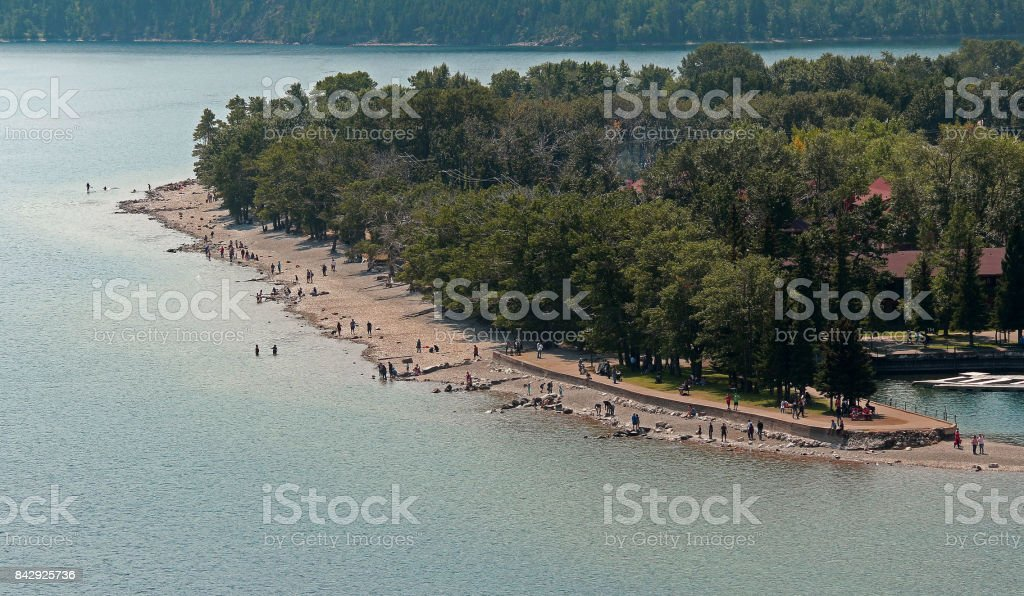 Beach Scene, Waterton Lakes National Park stock photo
