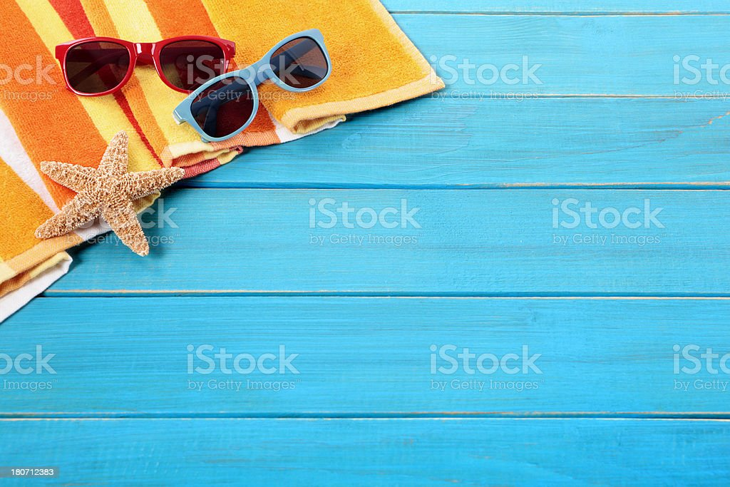 Beach scene with blue wood decking royalty-free stock photo