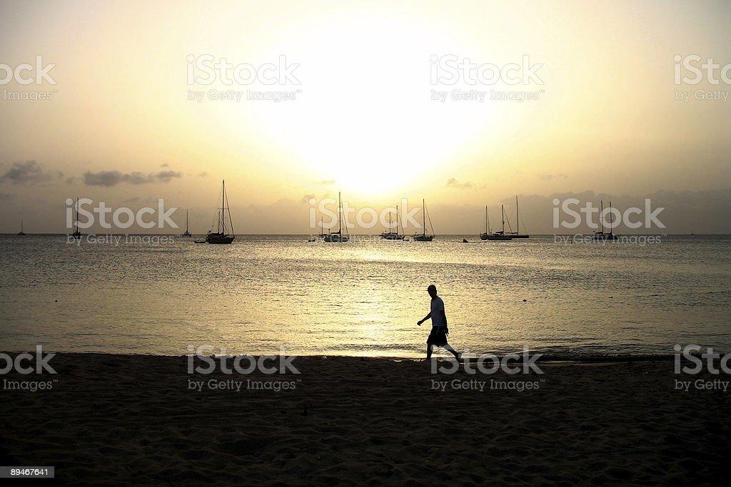 beach scene with male silhouette 免版稅 stock photo