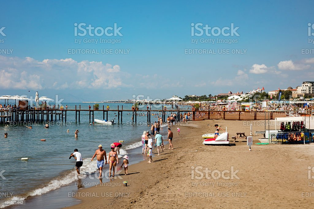 beach scene with people stock photo