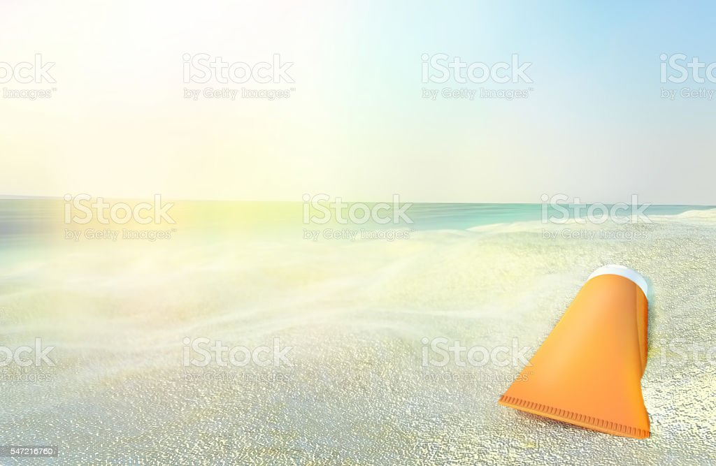 beach scene with sunscreen against ocean background アイデアの