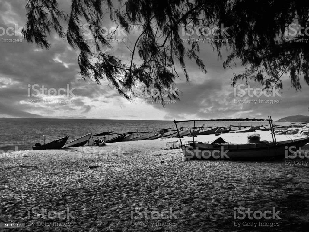Beach scenery in black and white stock image